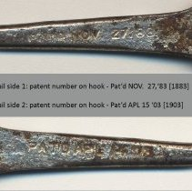 Image of detail of both sides of hook with different patent numbers
