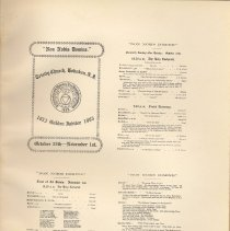 Image of plate facing pg 40: facsimiles of 4 program pages for 1903 Golden Jubilee