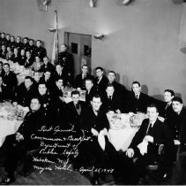 Image of B+W group photo of 1st Annual Communion & Breakfast, Dept. of Public Safety, Hoboken, N.J., Meyer's Hotel, Apr. 25, 1948.  - Print, Photographic