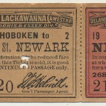 Image of Ticket, roundtrip excursion: D.L.& W. R.R.; between New York & Broad St., Newark, Nov. 26, 1897. - Ticket, Transportation