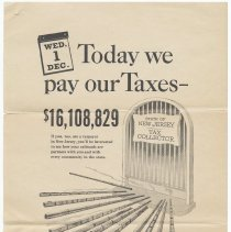 Image of Handbills, 3, issued by Associated Railroads of N.J. re state taxation on railroads, n.d., ca. 1949 to 1950; with Lackawanna R.R. ferry survey. - Handbill