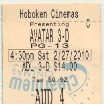 "Image of Admission ticket: Hoboken Cinemas,""Avatar"" in 3-D, 409 14th St., Hoboken, Feb. 27, 2010. - Ticket, Admission"