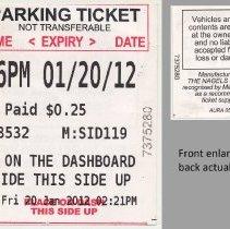 Image of Parking ticket (receipt) from Muni-meter, Hoboken, Friday, January 20, 2012.  - Receipt