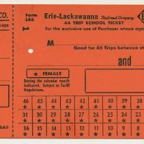 Image of Ticket sample: Erie-Lackawanna R.R. 46 Trip School Ticket, n.d., ca. 1960-1964. - Ticket, Transportation