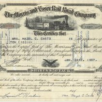 Image of Stock certificate: Morris & Essex Railroad Co., 10 shares issued to Mrs. Hazel C. Casto, Jan. 21, 1937.  - Certificate, Stock