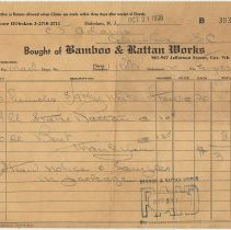Image of Invoice: Bamboo & Rattan Works, 901-907 Jefferson St., Hoboken, N.J. Oct. 21, 1938. - Invoice