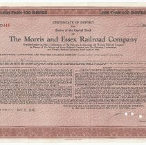 Image of Certificate of deposit: Morris & Essex Railroad Co. shares for D.L. & W. R.R. stock; William H. Tams, May 9, 1945. - Certificate of Deposit