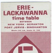 Image of Timetable: Erie-Lackawanna RR, N.Y.- Scranton - Port Jervis - Binghamton. Eff. Oct. 30, 1960. - Timetable