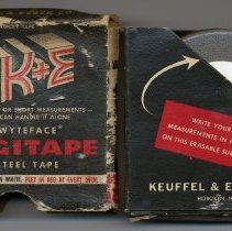 Image of Tape measure: K&E Wyteface Rigitape, No. 7419, 16 ft.; retail display packaging. Made in Hoboken, n.d., ca. 1954-1962.  - Measure, Tape