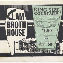 Image of Menu: Clam Broth House, Marlin Room & Lounge, 30-38 Newark St.,  Hoboken, N.J. N.d., ca. 1980-1990. - Menu