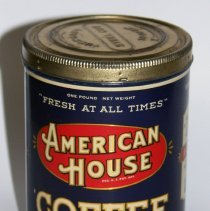 Image of Can: American House Coffee. Distributed by American Grocery Company, Hoboken, N.J. 1 lb. can. N.d., ca. 1927-1940. - Can