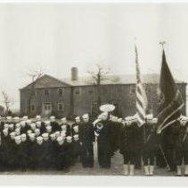 Image of B+W panoramic group photo of U.S. Navy V-12 Unit, Stevens Institute of Technology, Hoboken, Nov. 1943.  - Print, Photographic