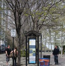 Image of Color photos, 4, of 2 waterfront walkway wayfinding kiosks at 1st or Newark Sts. along Frank Sinatra Dr., Hoboken, Apr. 14, 2012. - Photograph