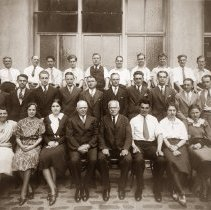 Image of Sepia-tone group photo of Keuffel & Esser Co. employees, Hoboken, n.d., probably 1933.  - Print, Photographic
