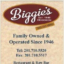 Image of Menu: Biggie's Clam Bar, 42 Newark St., Hoboken. Take-Out Menu. (April 2012.) - Menu