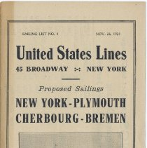 Image of Brochure: United States Lines, Sailing List No. 4, Nov. 26, 1921; Proposed Sailings; Sailing from Pier 1, Hoboken, N. J. - Brochure