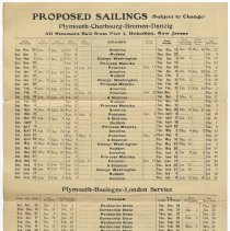 Image of side 2, inside, rotated: Proposed Sailings; Pier 1, Hoboken