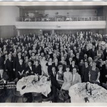 Image of B+W panoramic group photo: Testimonial Dinner Tendered to Marty Veth, Union Club (Hoboken), March 17, 1962. - Print, Photographic