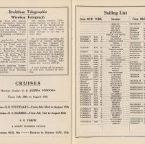 Image of pp [16-17] Wireless Telegraph (German & English); Sailing List (schedule)