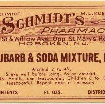 Image of A. Schmidt label 6: Rhubarb & Soda Mixture, N.F.