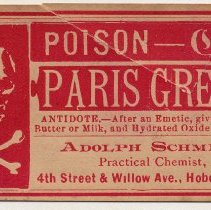 Image of A. Schmidt label 7: Paris Green (Poison in English & German)