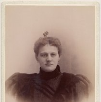 Image of Cabinet photo of middle-aged woman posed in photographer's studio, Hoboken, n.d., ca. 1900 - Photograph, Cabinet