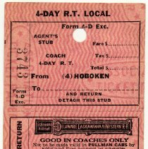 Image of Ticket: 4-Day R.T. Local Coach between Hoboken and unnamed station; D.L. & W. R.R., n.d., ca. 1950-1960.  - Ticket, Transportation