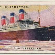 Image of Tobacco card: S.S. Leviathan. Will's Cigarettes No. 38. Merchant Ships of the World. (1924.) - Card, Tobacco