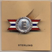 """Image of pin on card (1-11/16"""" square); Sterling; back: maker's marks on cap & knob"""