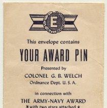 Image of printed envelope; detail top flap (rotated), imprinted name: Arthur Miller