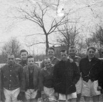 Image of B+W photo of a Hoboken Football (soccer) Club team with coaches. (Hoboken?), Feb. 1950. - Photograph