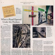 Image of Article: When a Road Opened Under the Hudson. By Kevin Coyne. NYT, March 4, 2012, (ARTS | NJ.) - Clipping, Newspaper