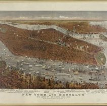 Image of Print: New York and Brooklyn: with Jersey City and Hoboken water front. Chromolithograph, Currier & Ives, 1877. - Print