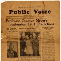 Image of Newspaper: Public Voice, Vol. 1, No. 3, September 4, 1931.  - Newspaper