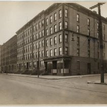Image of Sepia-tone photo of view of west side of Hudson St. from 12th to 11th Sts., Hoboken, n.d., ca. 1926-1932.  - Print, Photographic