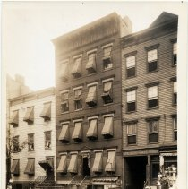 Image of Sepia-tone photo of view northeast of 409 to 413 Grand St., Hoboken, July 25, 1929.  - Print, Photographic