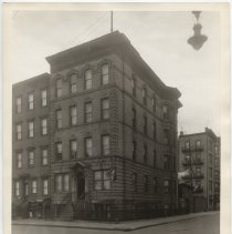 Image of Sepia-tone photo of apartment building at 301 Monroe St., Hoboken, n.d., ca. 1926-1932. - Print, Photographic