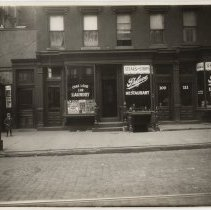 Image of Sepia-tone photo of 109-111 14th St. (Palace Restaurant), Hoboken, (1928.) - Print, Photographic