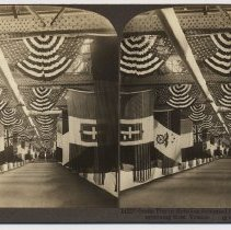 Image of Stereoview: 14227 - Ocean Pier in Hoboken decorated for reception of 27th, Division returning from France. Underwood & Underwood. N.d., ca. 1919-1920. - Stereoview