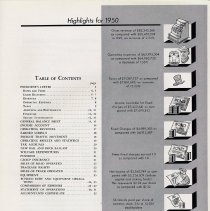 Image of pg [1] table of contents; Highlights for 1950