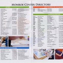 Image of second opening (to side 2), rotated: Monroe Center Directory