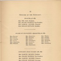 Image of pg 15: Officers of the [Ladies] Auxilary.