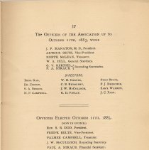 Image of pg 17: Officers of the Association, 1883; 1883 to present (1884)