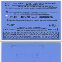 Image of Ticket sample: New Jersey & New York R.R. Weekly Commutation Ticket; Pearl River & Hoboken. Unissued. N.d., 1964. - Ticket, Transportation