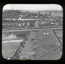 Image of Lantern slide: 52 (16762) Great Ocean Liners at the Docks, Hoboken, N.J. Keystone View Co., Factories, Meadville, Pa. N.d., ca. 1916-1917. - Transparency, Lantern Slide