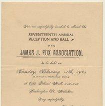 Image of Invitation: 17th Annual Reception & Ball, James J. Fox Assn., Feb. 11th, 1902, at Odd Fellows' Hall, 412-414 Washington St., Hoboken.  - Invitation