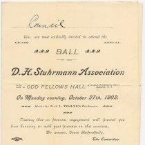 Image of Invitation: Grand Annual Ball of D.H. Stuhrmann Assn., Odd Fellows' Hall, 412-414 Washington S., Hoboken, N.J. Oct. 27, 1902. - Invitation