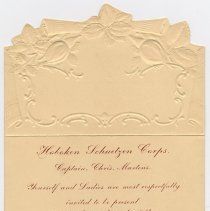Image of Invitation: Hoboken Schuetzen Corps. to Mayor & City Council, for 32nd Annual Ball at Quartett Club Hall, 1013-1017 Washington St., Hoboken, Jan. 19, 1903 - Invitation
