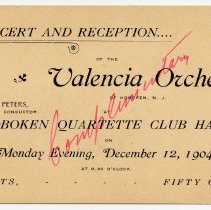 Image of Ticket: Concert & Reception.... of Valencia Orchestra of Hoboken at Hoboken Quartette Club Hall, Dec. 12, 1904. - Ticket