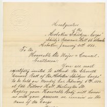 Image of Invitation to Mayor and City Council from Hoboken Schutzen Corps, Jan. 31, 1882 to attend their 11th Annual Ball.  - Invitation